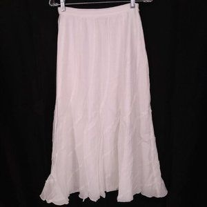 Chicos Size Small Skirt Midi White A Line